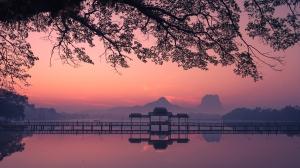 Beautiful sunrise over Kan Thar Yar lake in Hpa An Myanmar