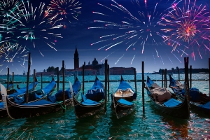 fireworks over the Canal Grande in Venice