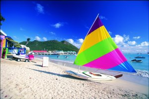 Small sailboat on beach