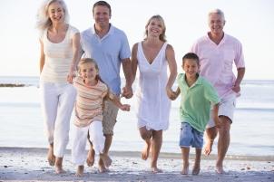 Three generation Families on a beach