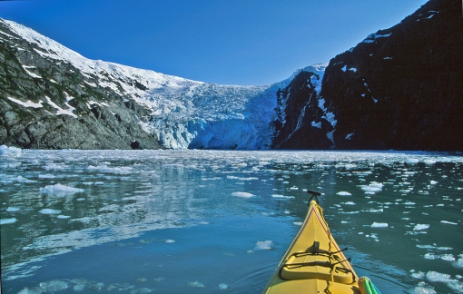 kayaking to resurrection glacier in resurrection bay, alaska.