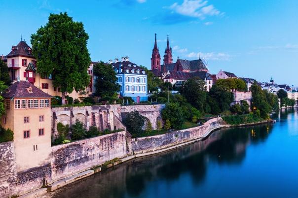 Basel architecture along Rhine River. Basel Basel-Stadt Switzerland.
