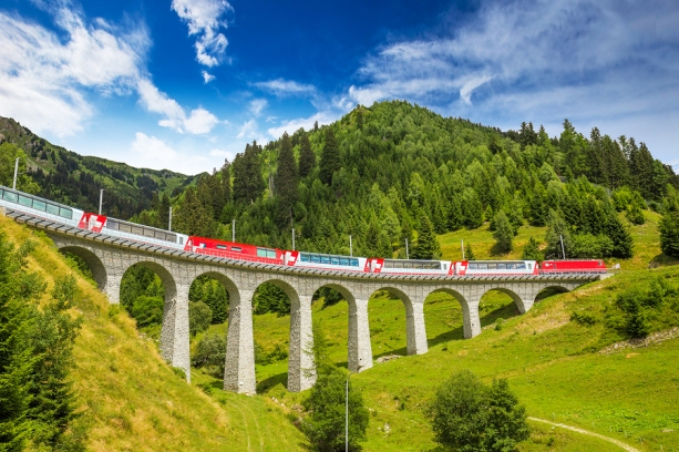 Train on famous landwasser Viaduct bridge