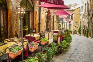 Vintage cafe old city in Italy