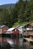 The reflections of historic Creek Street houses in Ketchikan Alaska.