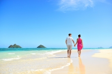 Lanikai beach, Oahu, Hawaii, with Mokulua Islands