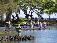 Hula dancers dance for the Merry Monarch festival in Hilo Hawaii 2007.