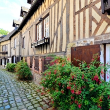 Picturesque Timbered Buildings In Normandy Town Of Honfleur,
