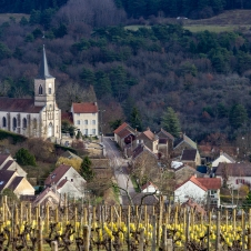 View Of A Village In Burgundy, France From The Surrounding Vine