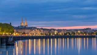 View On Bordeaux In The Evening - France